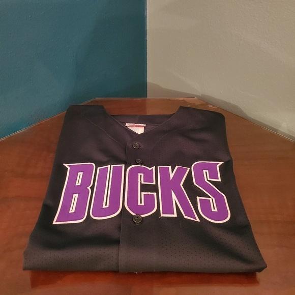 quality design e3417 fb2c2 Milwaukee Bucks Baseball style Jersey green/purp